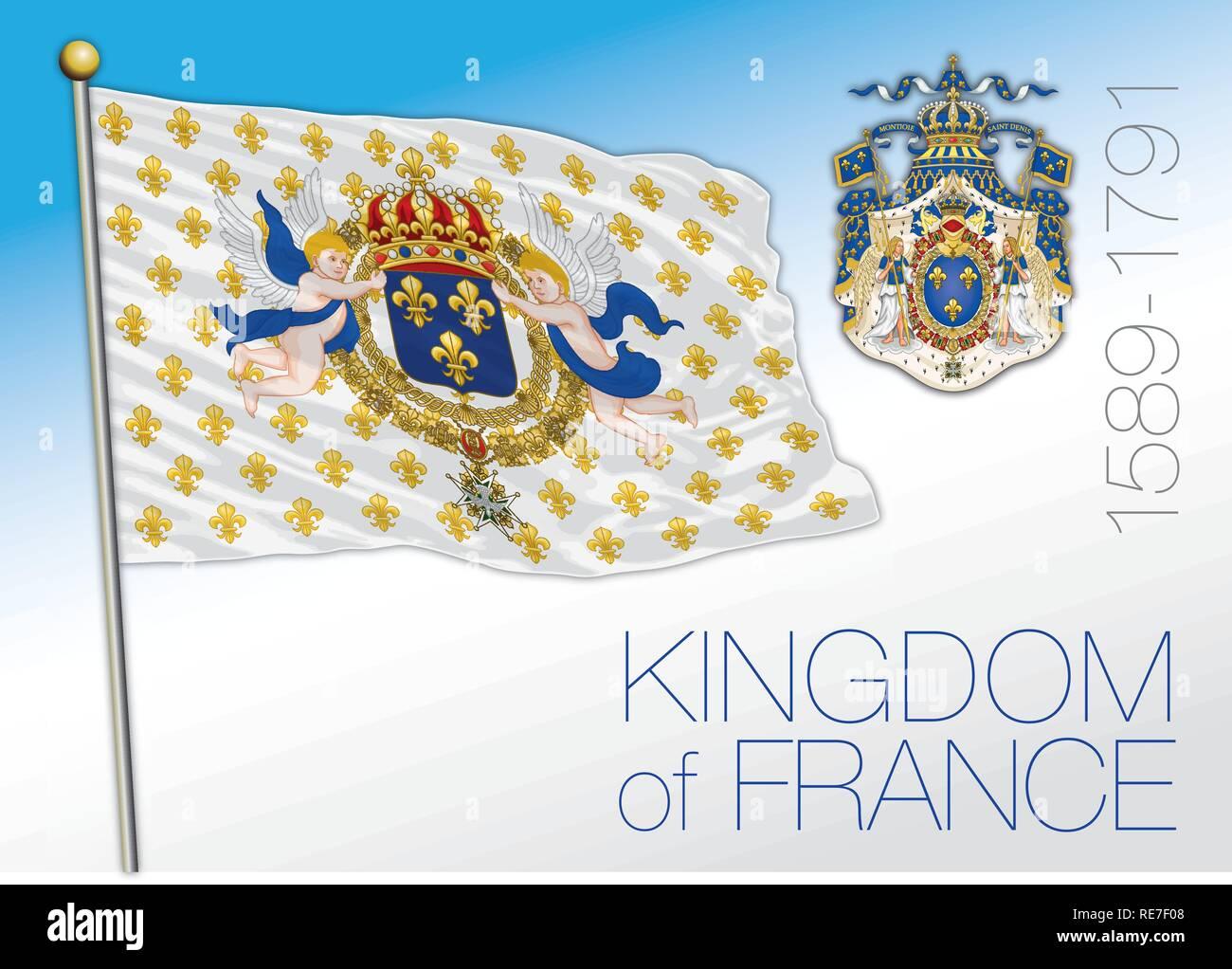 Kingdom of France, historical flag - Stock Vector
