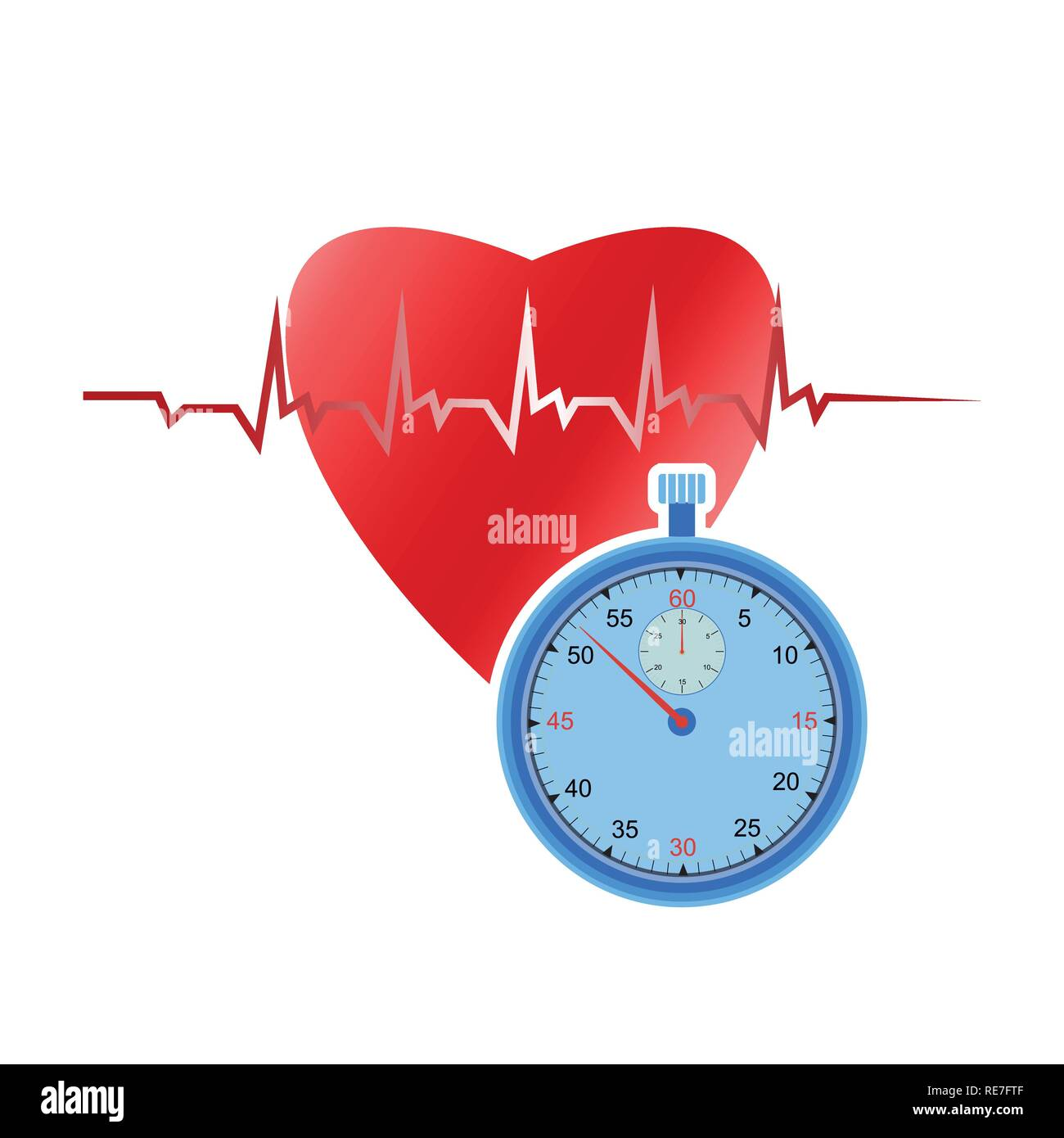 Heart and Stopwatch - Stock Image