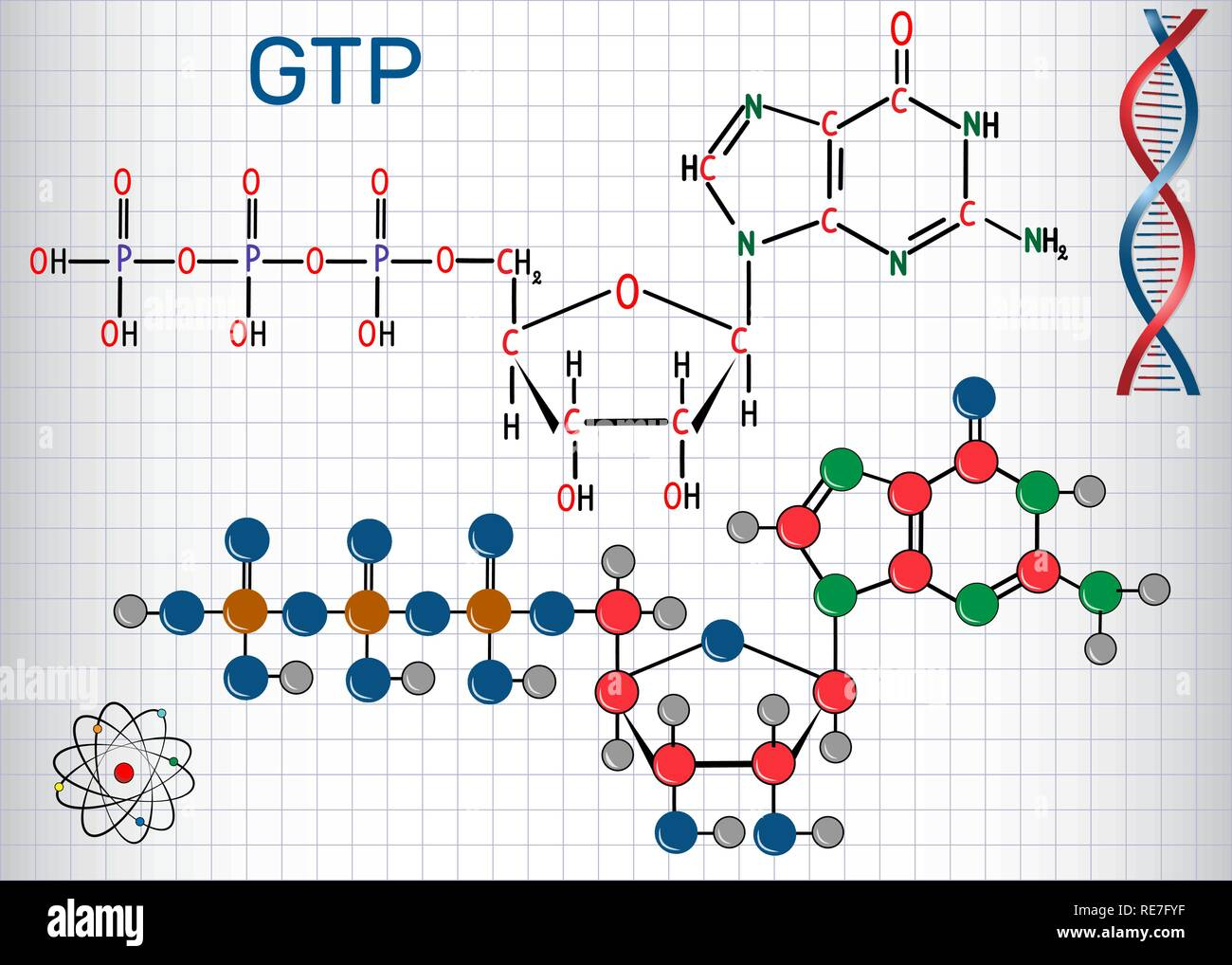 Guanosine triphosphate (GTP) molecule, it is used in synthesis of RNA and as a source of energy for protein synthesis. Sheet of paper in a cage. Struc - Stock Image