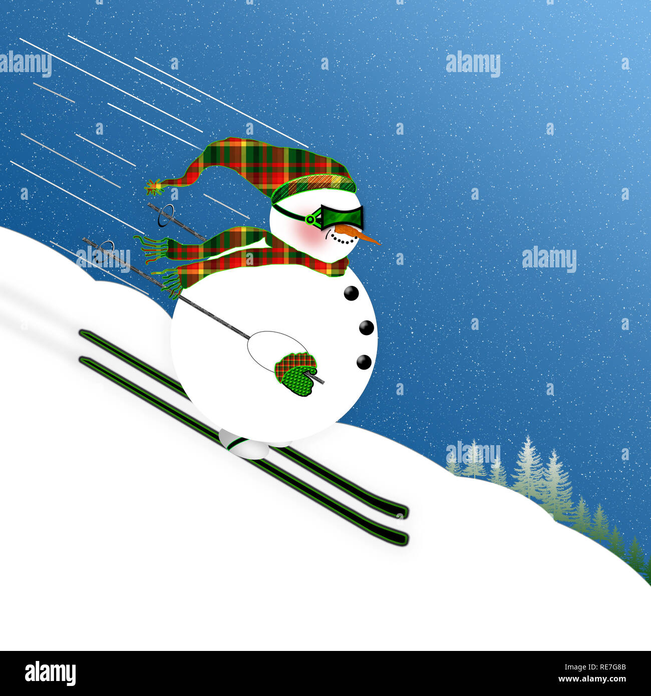 Cute, Funny and Fat Little Snowman skiing down mountain at