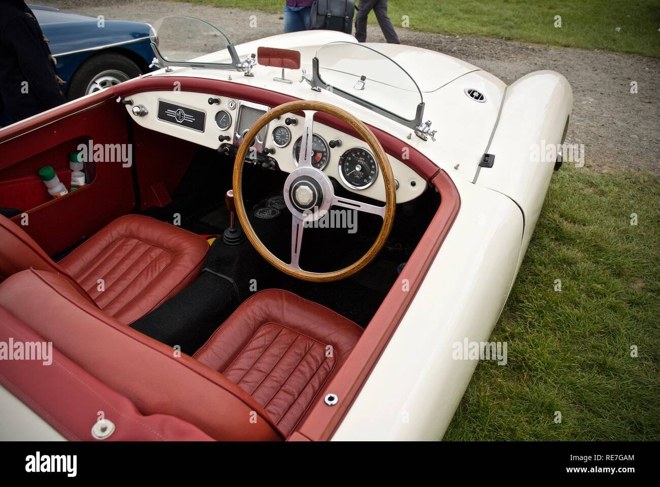 Interior of an MGA at the Anglesey Vintage Rally, Anglesey, North Wales, UK, May 2015 - Stock Image