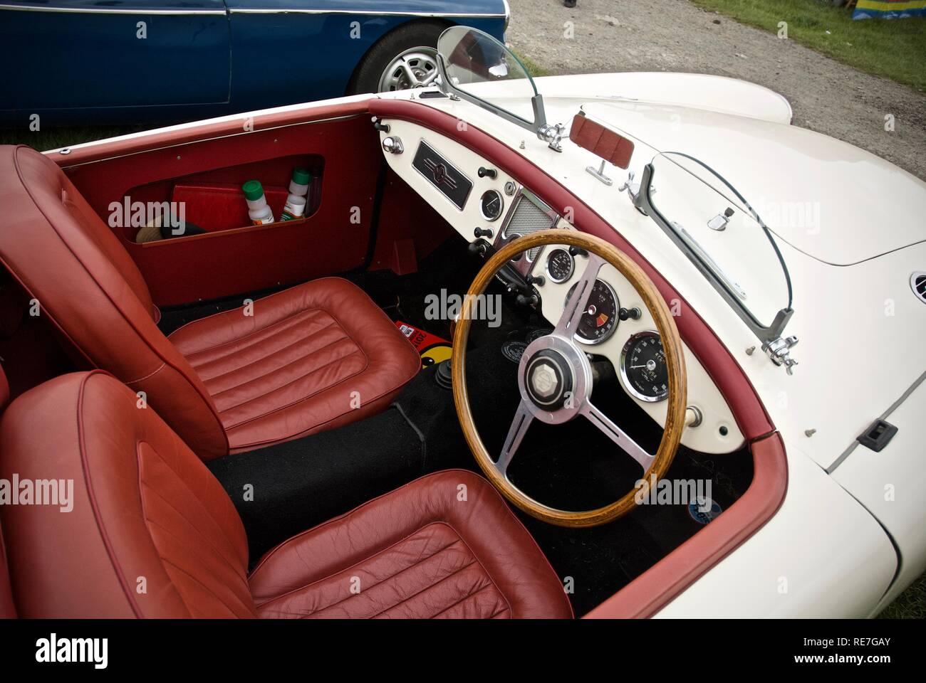 Interior of an MGA at the Anglesey Vintage Rally, Anglesey, North Wales, UK, May 2015 - Stock Image