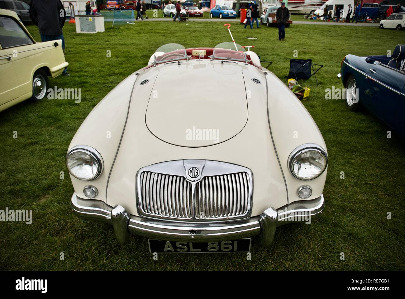 Front view of an MGA at the Anglesey Vintage Rally, Anglesey, North Wales, UK, May 2015 - Stock Image