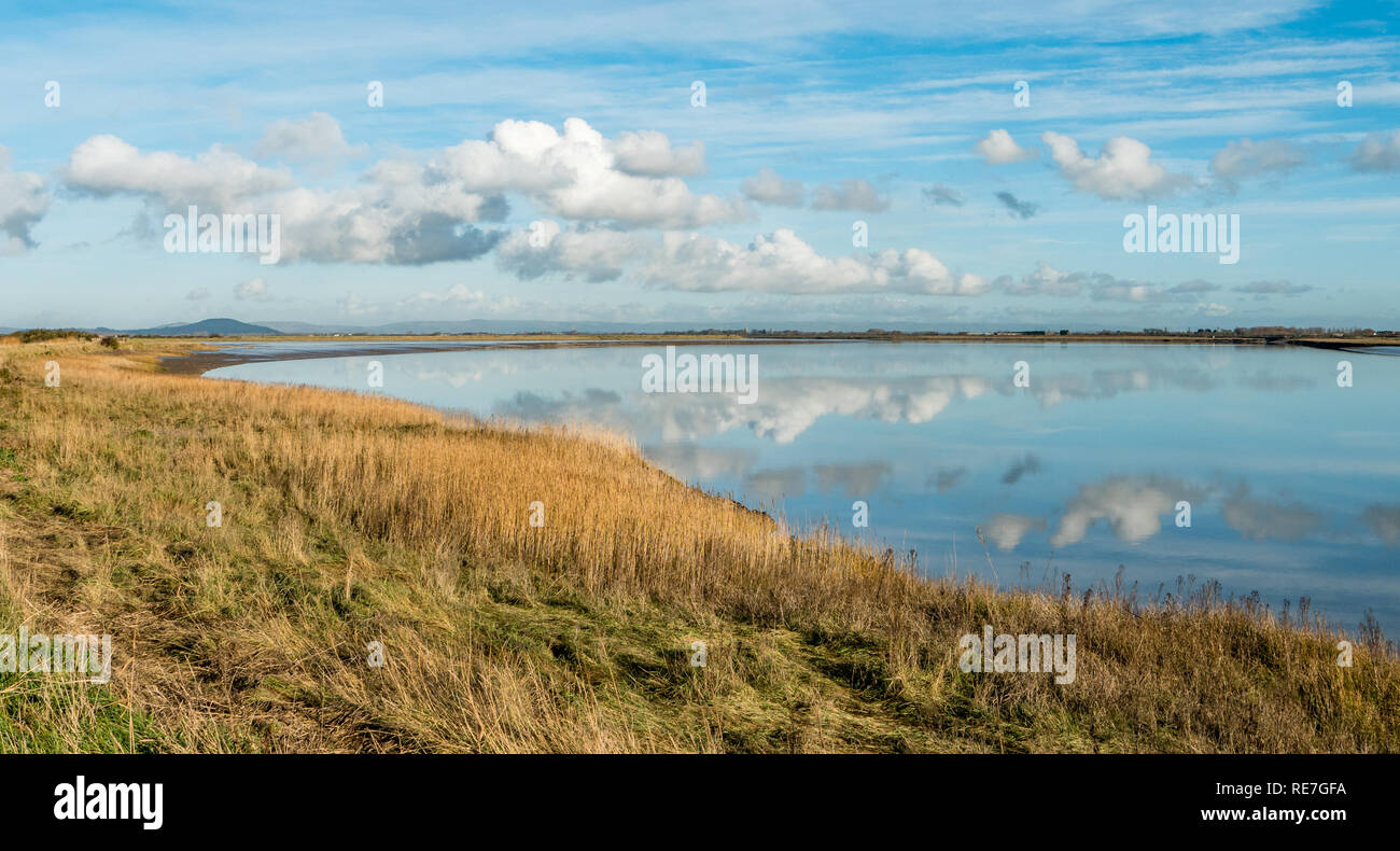 Peaceful scene looking out over the Parrett estuary towards Brent Knoll from Steart Marshes in West Somerset UK - Stock Image