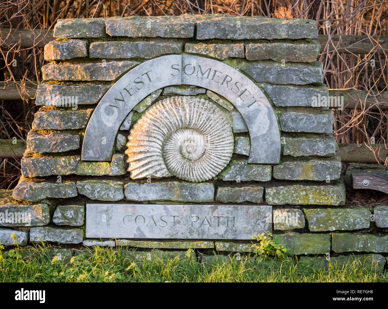 Starting pont of the West Somerset coast path in Minehead which skirts the county's Jurassic coast and has an ammonite as its emblem - Stock Image