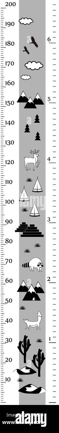 Vector height chart in minimalistic scandinavian style. Meter Wall or Height Meter, centimeter and Inch Scale. Black and white. - Stock Image