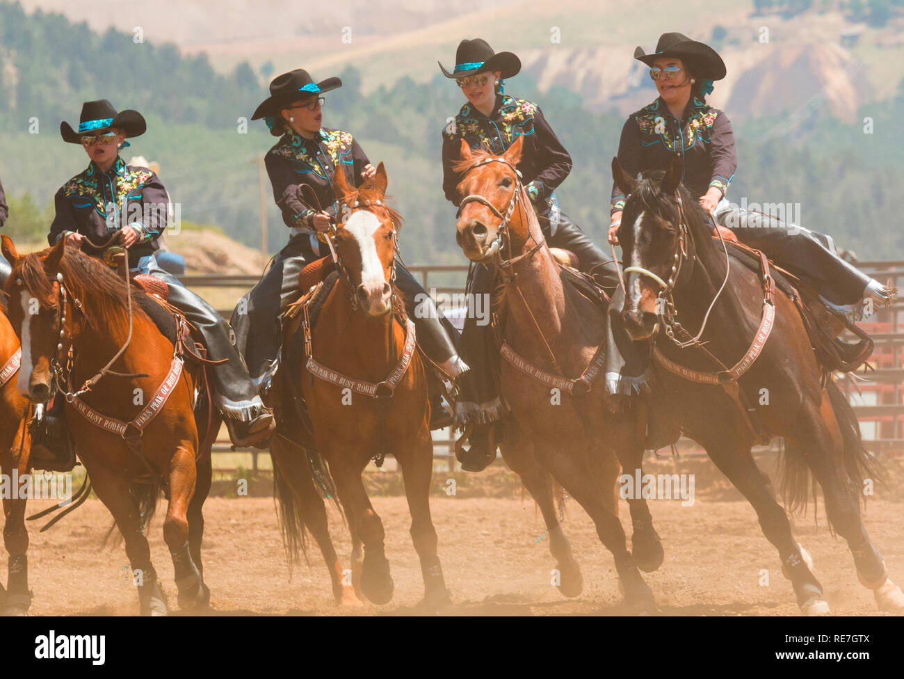 2ea37e87e4520 Cowboys and Cowgirls competing at the Top of the World Rodeo - Stock Image
