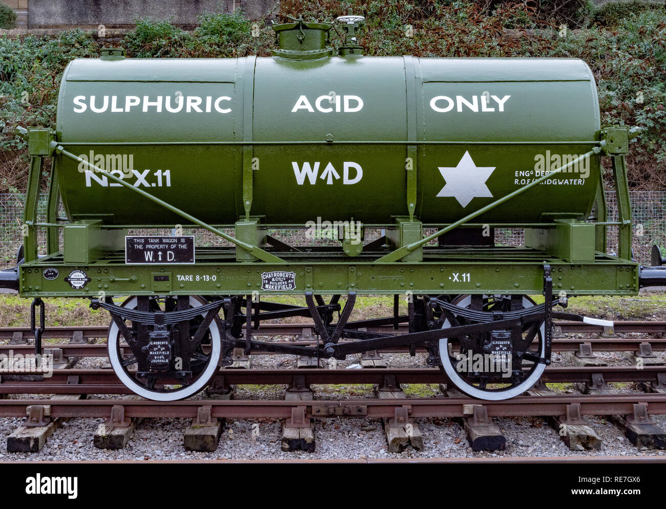 Newly repainted sulphuric acid rail tank wagon in the sidings at Bristol floating harbour docks - Stock Image