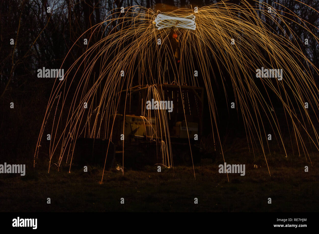 Steel wool photo on top bulldozer, January 2019, from Kimball, Tennessee. Night shot taken with long exposure on tripod. Stock Photo
