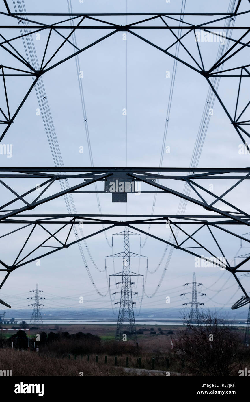 Electricity pylons, UK - Stock Image
