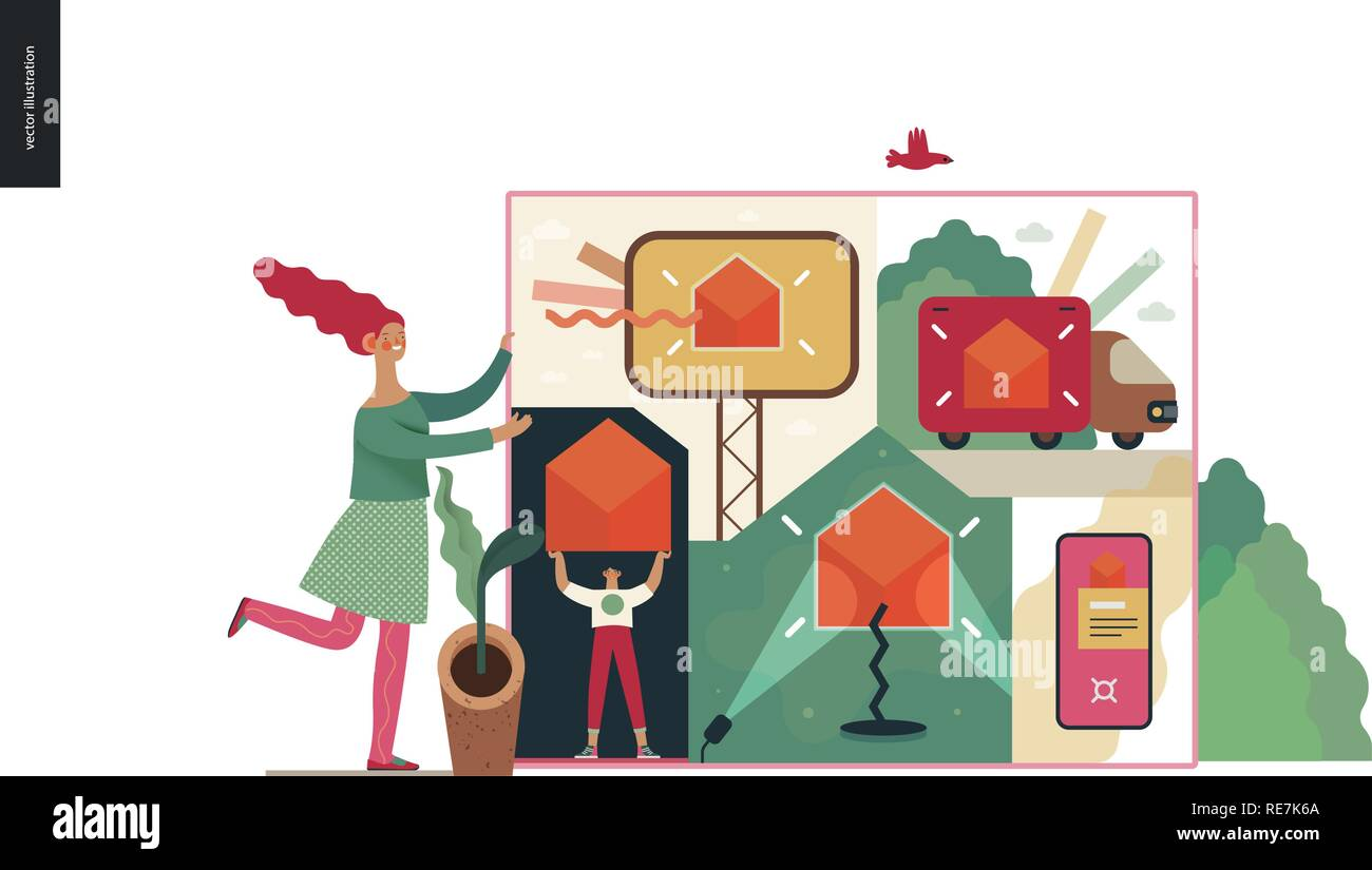 Technology 2 -Marketing and Promotion modern flat vector concept digital illustration marketing metphor, company brand promotion. Business workflow ma - Stock Image