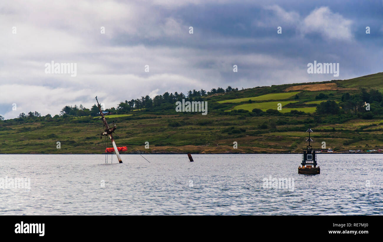 Navigation cardinal buoy with North topmark at Bearhaven straight, Bere Island, - Stock Image