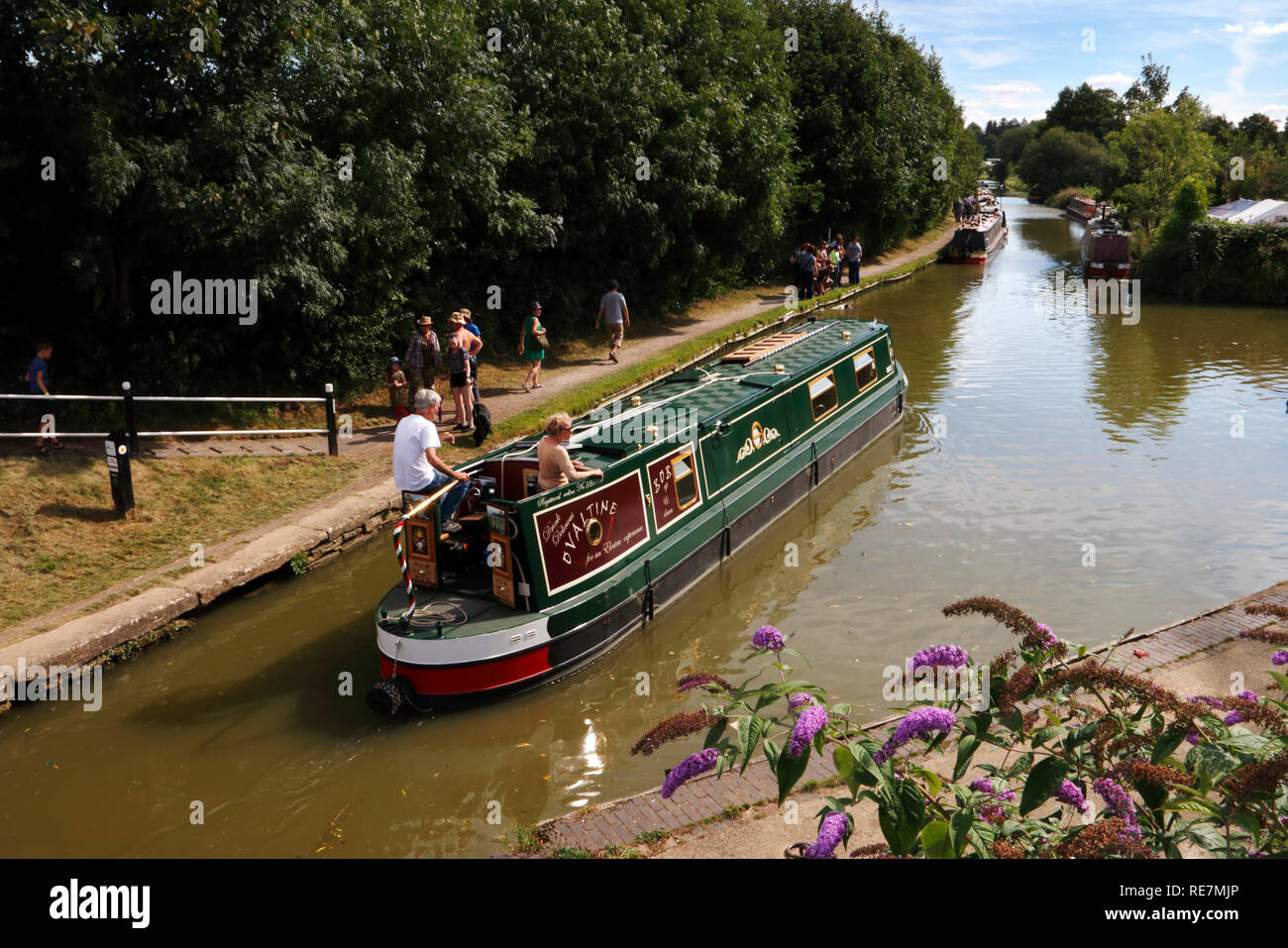 Narrowboats on the canal at Cropredy, Oxfordshire - Stock Image