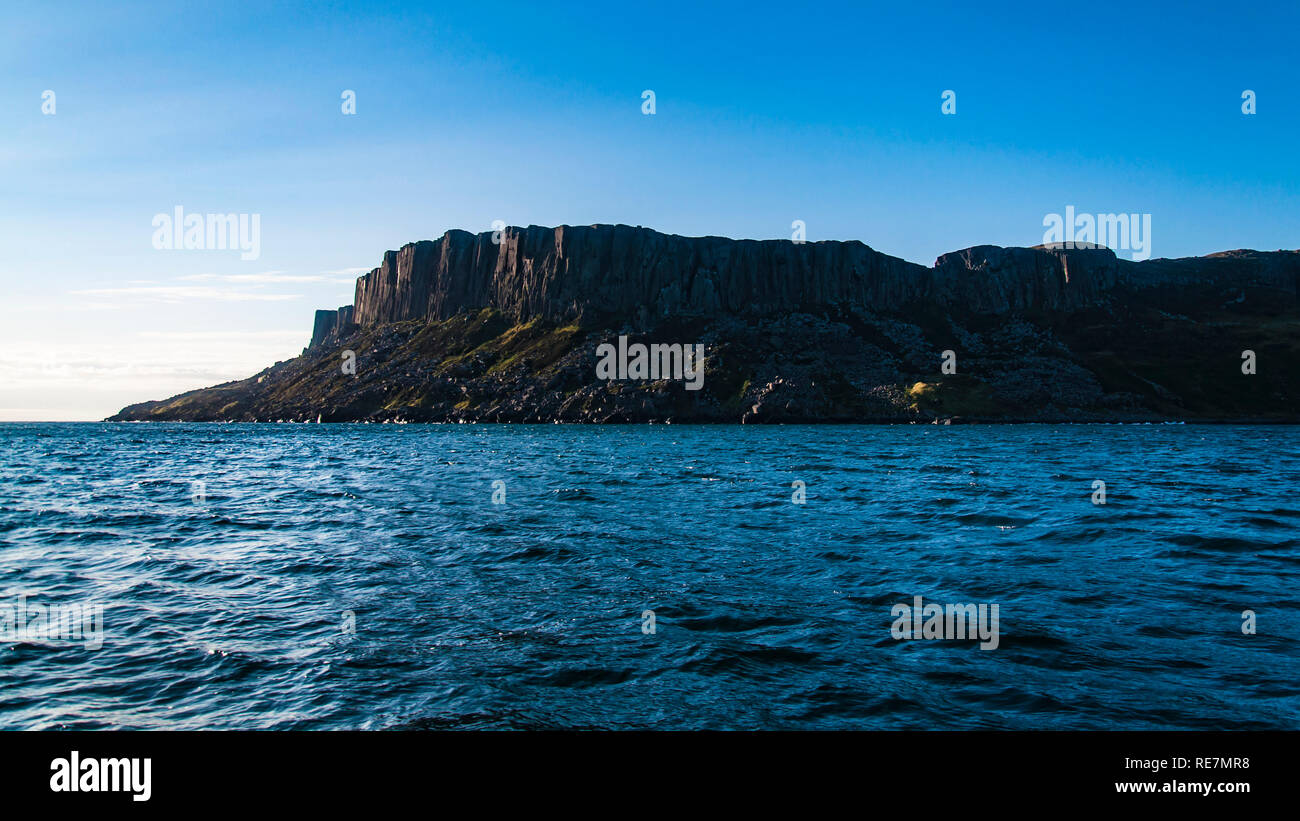 Distant Land, Fair Head, Ireland. - Stock Image