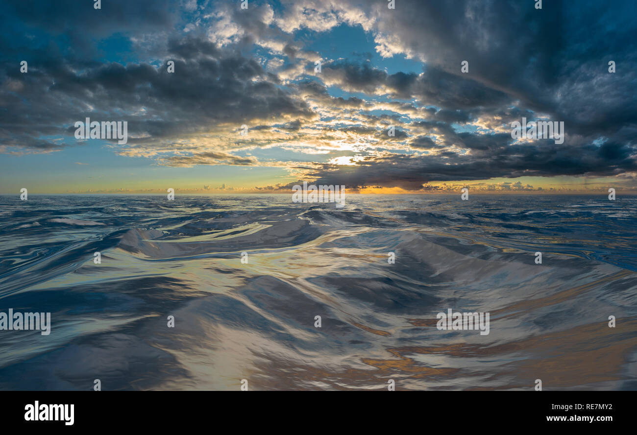Sunset or sunrise over rough water - Stock Image