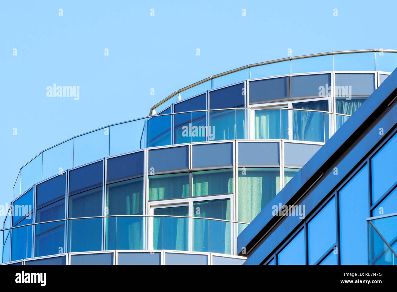 Detail of the Pinnacle building apartments in Battersea Reach, Wandsworth - South West London, England - Stock Image