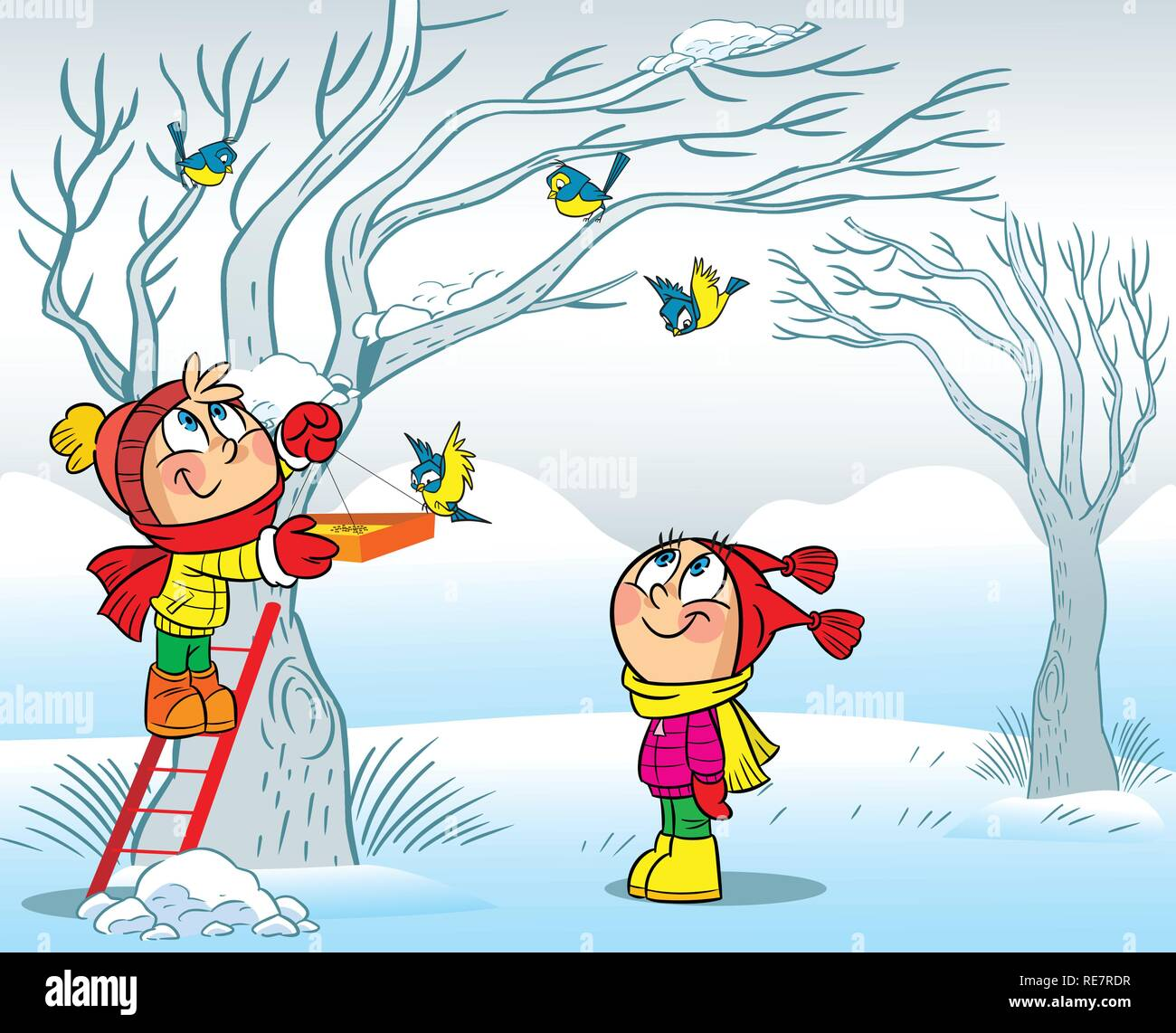 The illustration shows how a boy and a girl feeding birds in winter. Illustration done in cartoon style, on separate layers. - Stock Image