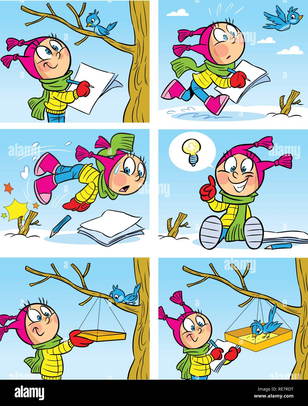 The illustration shows a girl who draws a bird. She hung a bird feeder for the bird. The form of comics, cartoon style, on separate layers. - Stock Image