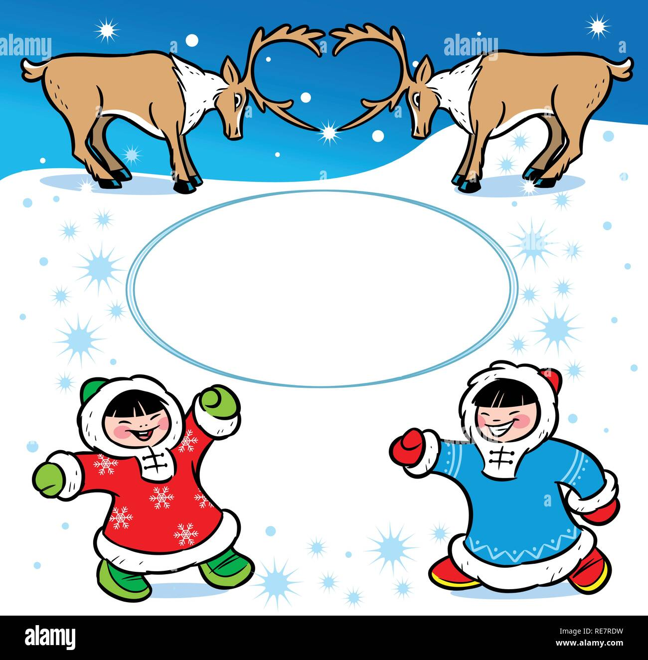 The picture shows children dressed in ethnic attire.They are having fun on the white snow.Near them are reindeer.Illustration done in cartoon style Stock Vector