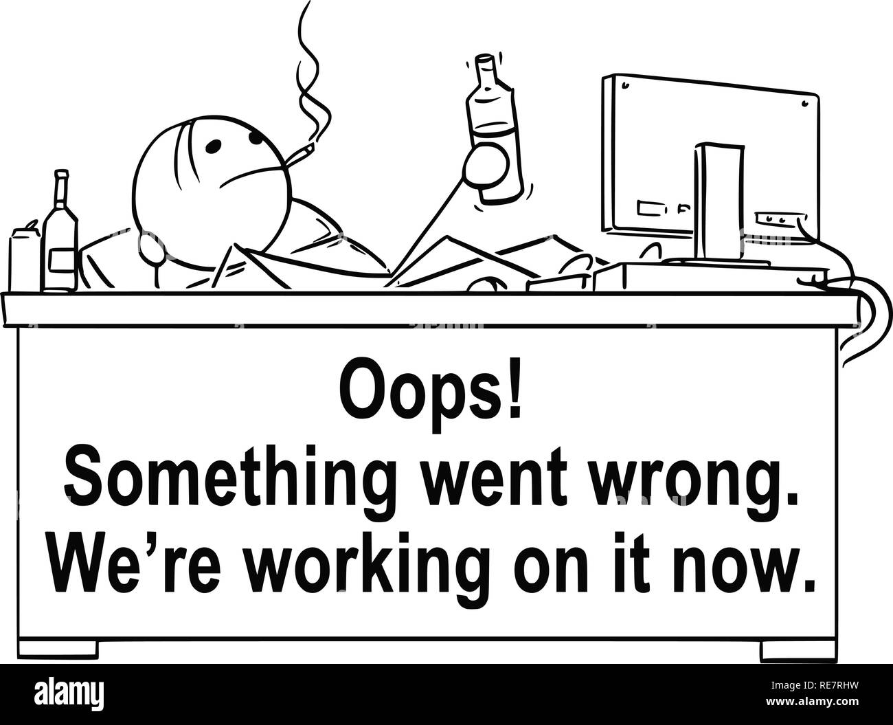 Cartoon of Programmer Sitting With Legs on Table and Drinking and Smoking. There is Something Went Wrong Text - Stock Vector
