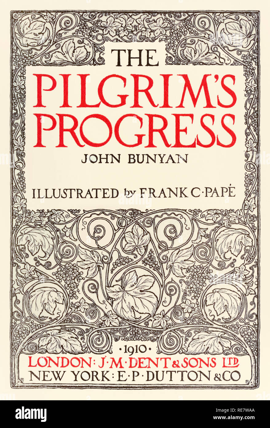 Title page from 'The Pilgrim's Progress' by John Bunyan (1628-1688) designed by Frank C. Papé (1878-1972) and published by J. M. Dent in 1910. See more information below. - Stock Image