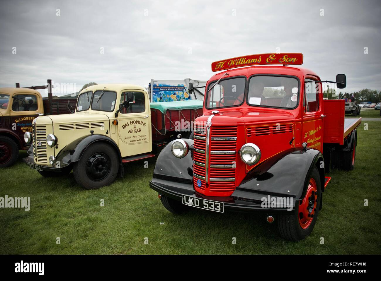 A red 1950 Bedford OIB truck at the Anglesey Vintage Rally, Anglesey, North Wales, UK, May 2015 - Stock Image