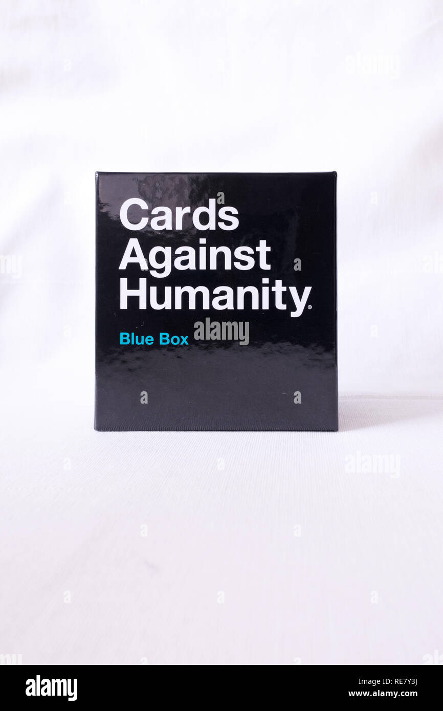 Cards Against Humanity Blue Box on white background - Stock Image