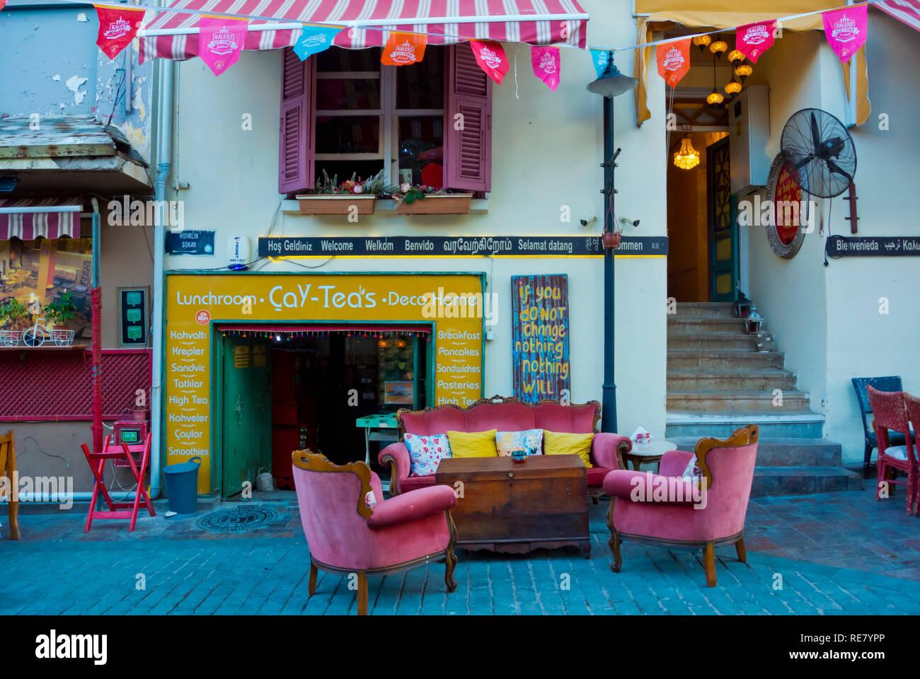 Cafe tearoom terrace, Kaleici, old town, Antalya, Turkey, Eurasia - Stock Image