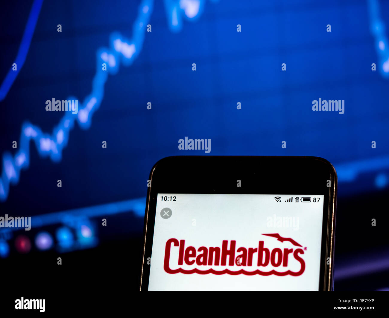 Clean Harbors Waste management company logo seen displayed