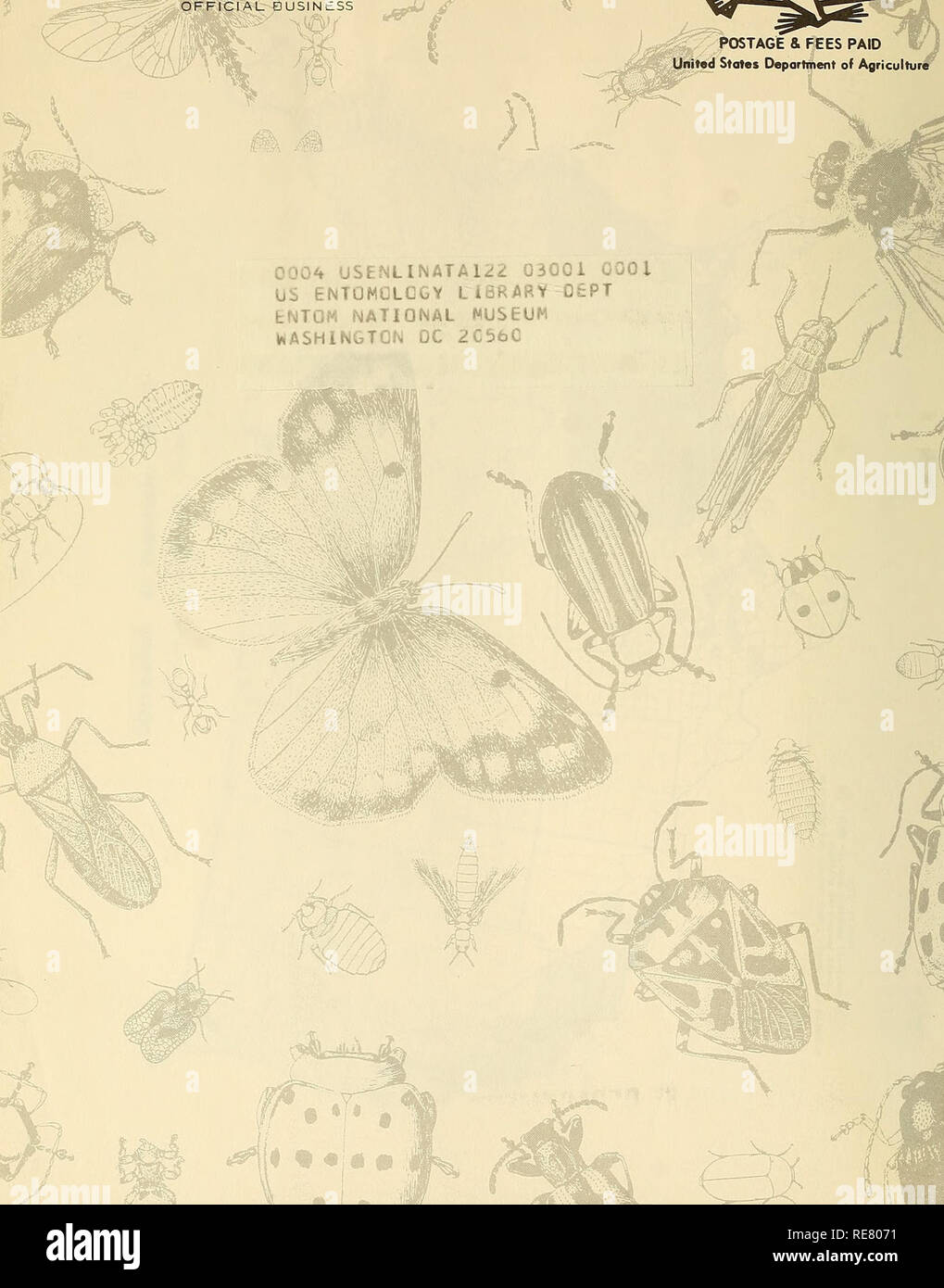 """. Cooperative economic insect report. Beneficial insects; Insect pests. UNITED STATES DEPARTMENT OF AGRICULTURE Hyattsville, Maryland 20782 ^ ,, v £/•>' OFf ICIAL eUSlNtSS. OSTAGE & FEES PAID Unitad States Department of Agriculture ;i L'Jv""""t 'j:>r :sL liH» M i^ii jjiGOi 0001 US ENTONOLGGY LiSRARY 0£PT ENTOM NATIONAL MUSEUM ViASHlN&TGN DC 2C56C. Please note that these images are extracted from scanned page images that may have been digitally enhanced for readability - coloration and appearance of these illustrations may not perfectly resemble the original work.. United State - Stock Image"""