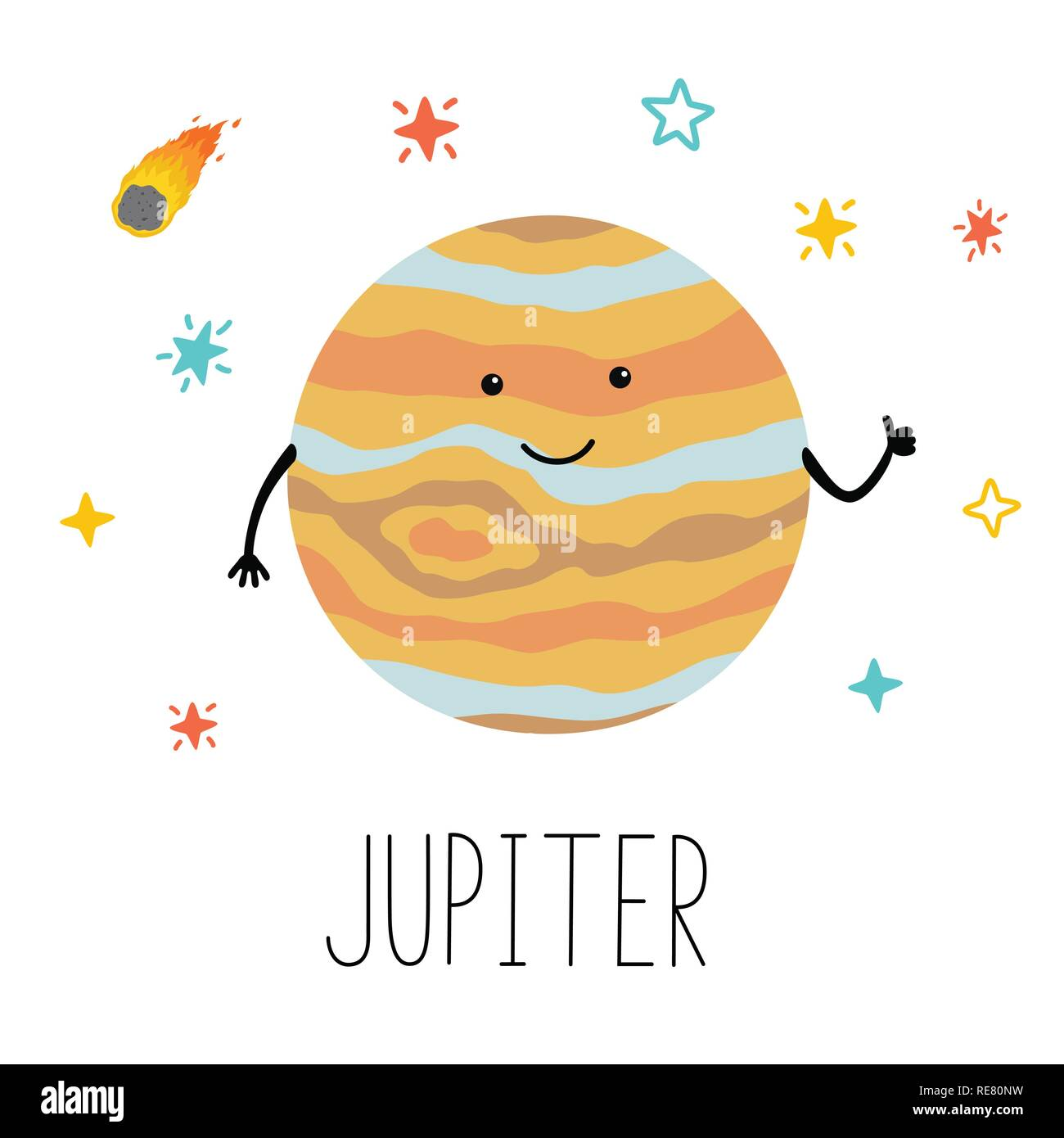 Vector cartoon funny illustration of planet smiling happy Jupiter in cartoon style on space star sky. Poster for children room, education. - Stock Image