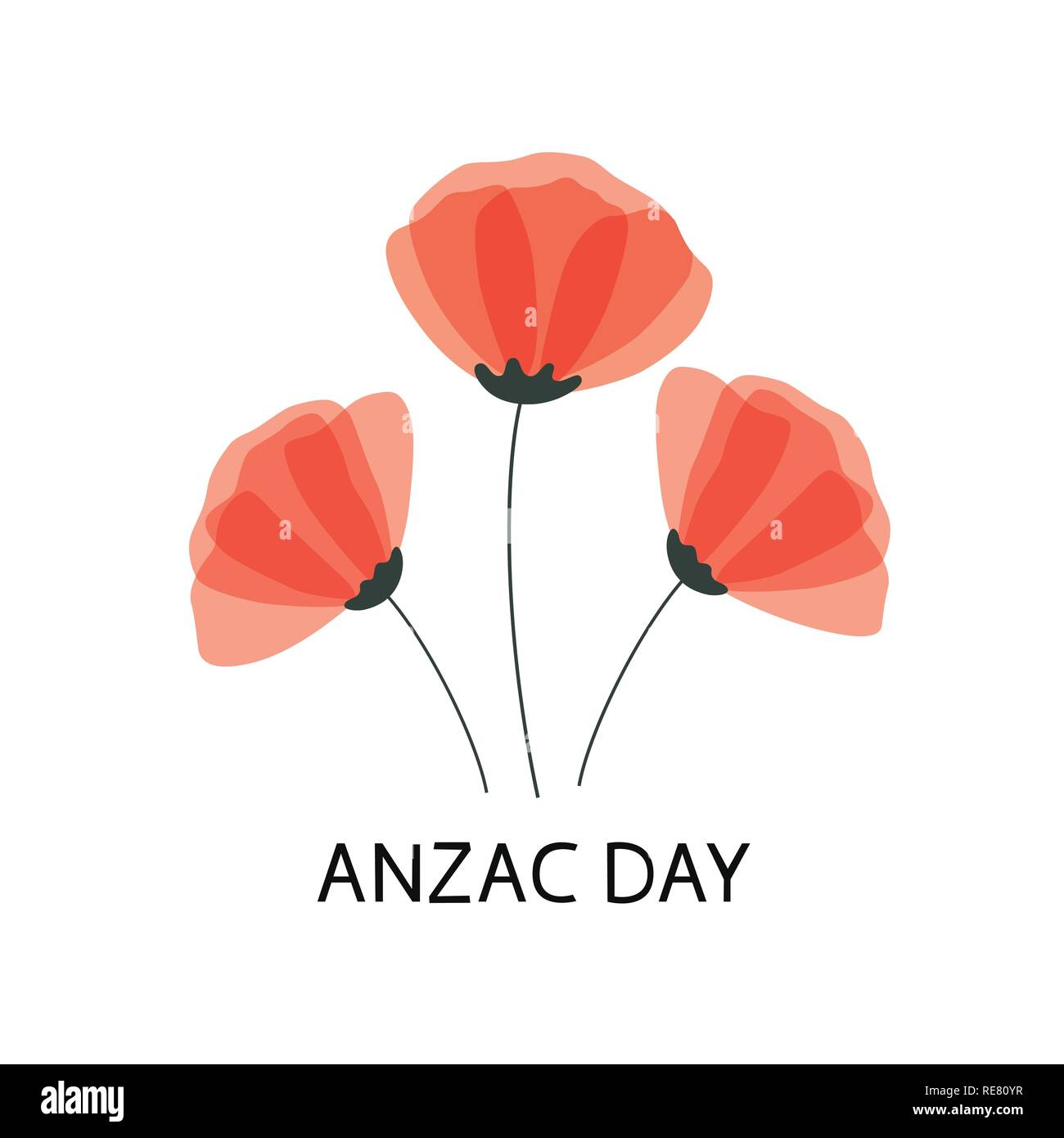 Anzac Day vector poster. Lest We forget. Paper cut Red Poppy flower - a symbol of International Day of Remembrance. Vector - Stock Vector