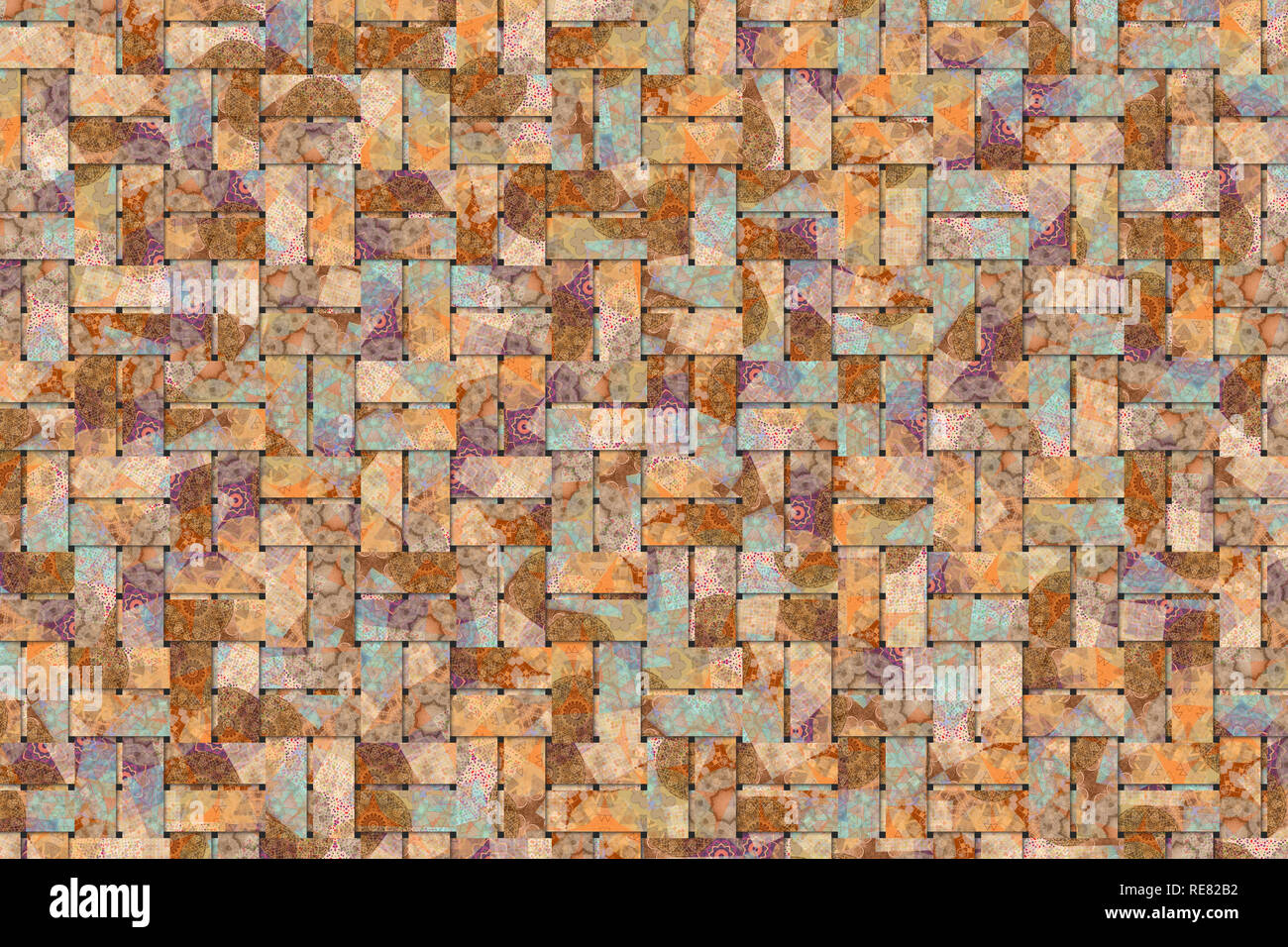 Background abstract woven mat, rattan for design, graphic resource. - Stock Image