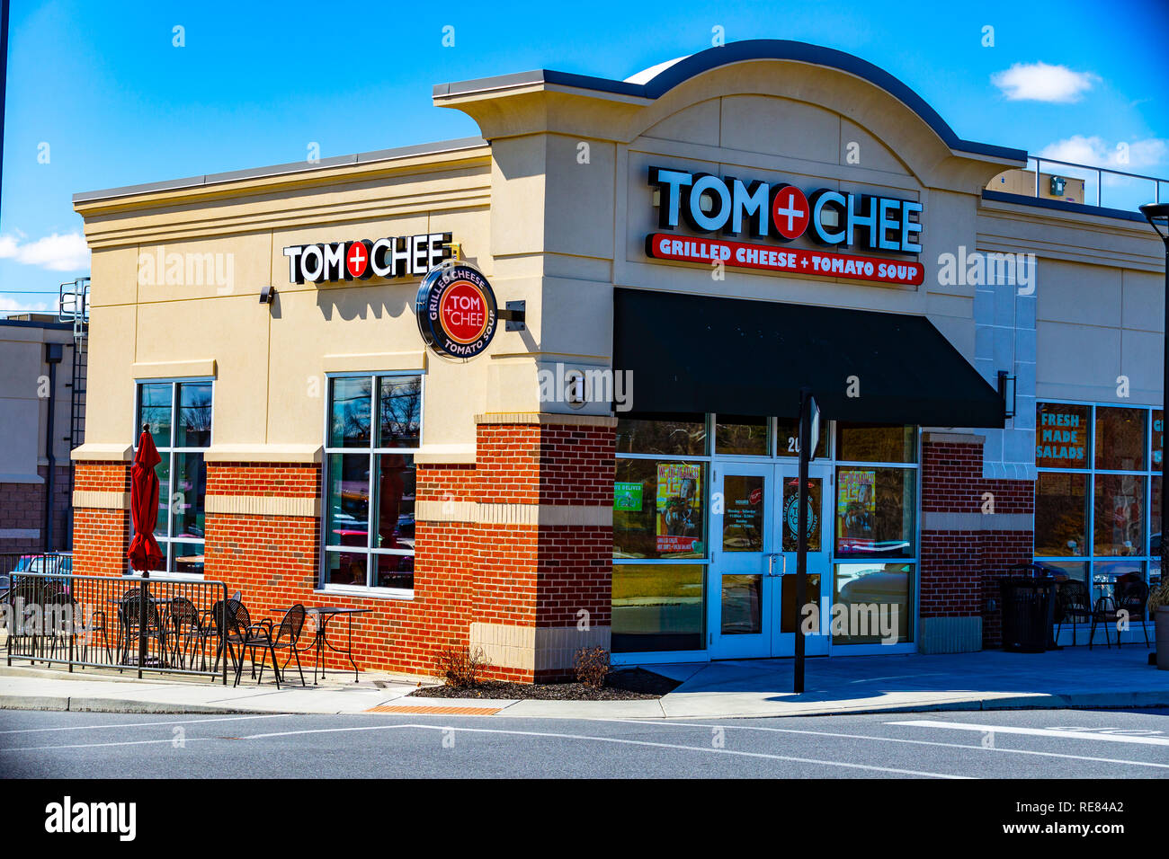 Lancaster, PA, USA - March 5, 2018: Tom and Chee is an American fast food, casual restaurant that was featured on TV's Shark Tank with 15 locations. - Stock Image