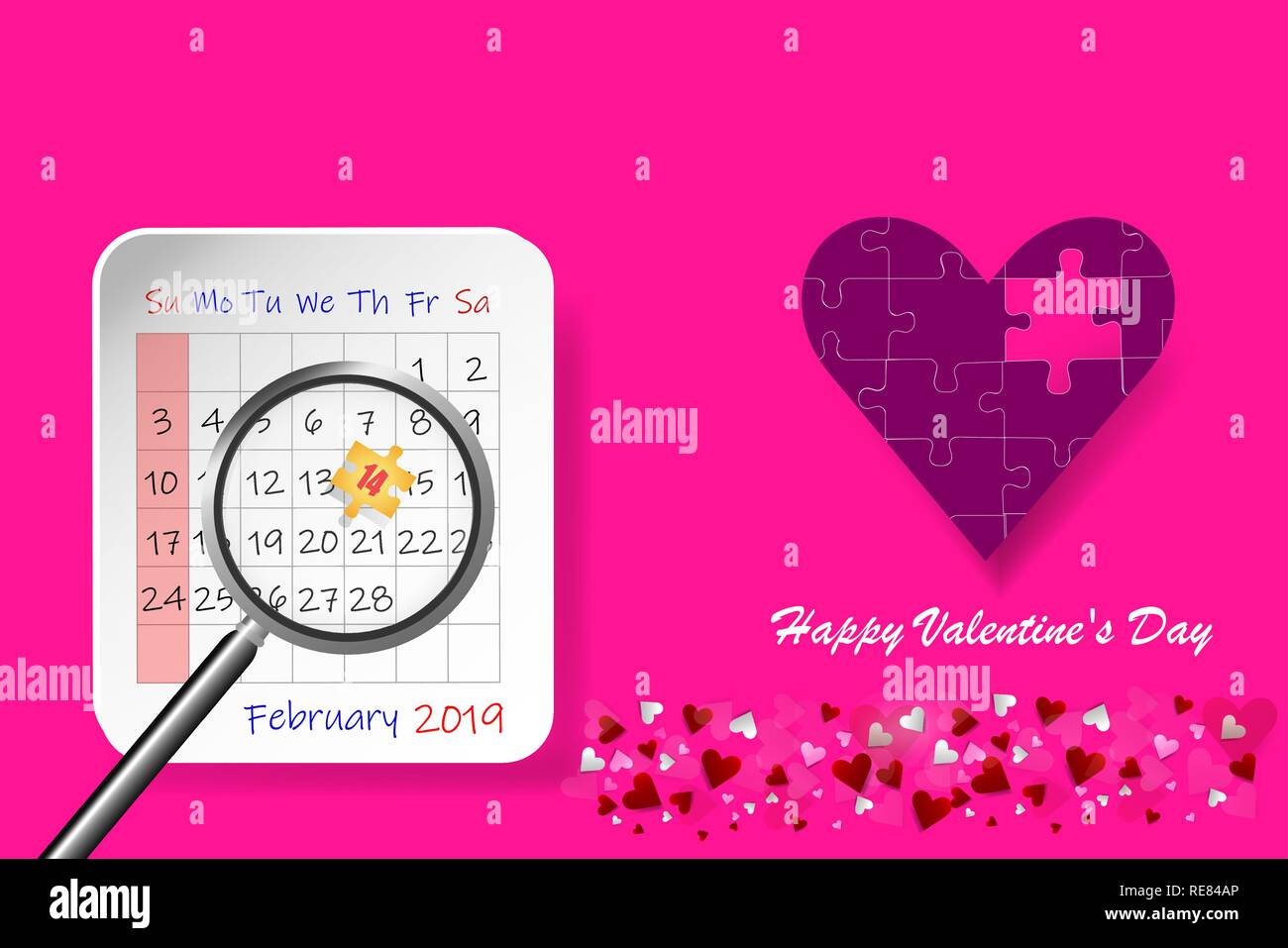 0ef2cdf1d3a815 Valentine s Day vector with puzzle pink heart in the right side of the  vector. Calendar