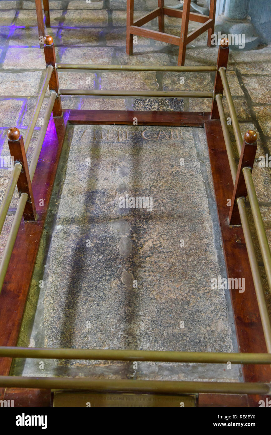 Vasco da Gama's tomb, St Francis Church, Fort Cochin, Kochi, Kerala, India - Stock Image