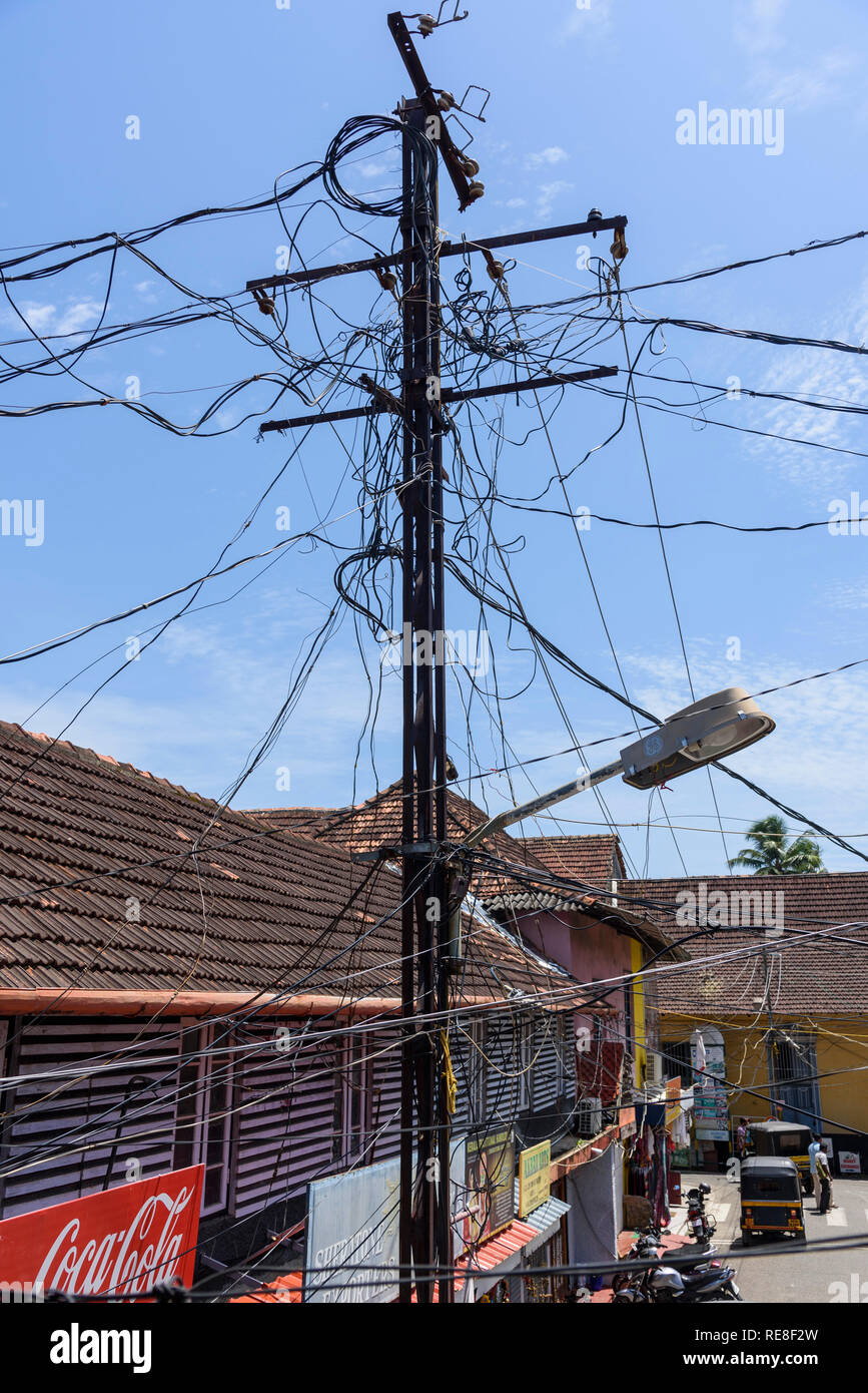 Power lines, Cochin, Kochi, Kerala, India - Stock Image