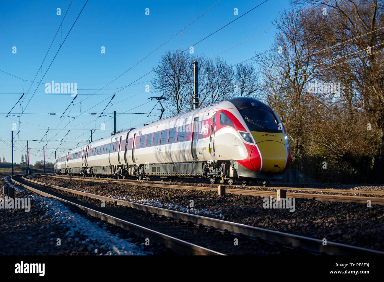 Class 800 103 heads north to York from London Kings Cross on a test/training run as it passes Great Paxton on 17 January 2019 - Stock Image