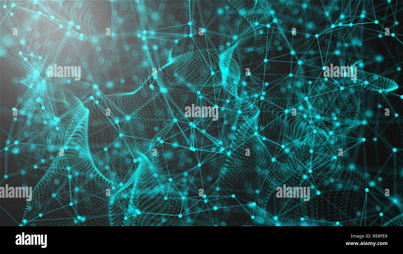 Fantastic abstract technology, space with may connecting dots and lines, connection structure background, 3d rendering Stock Photo