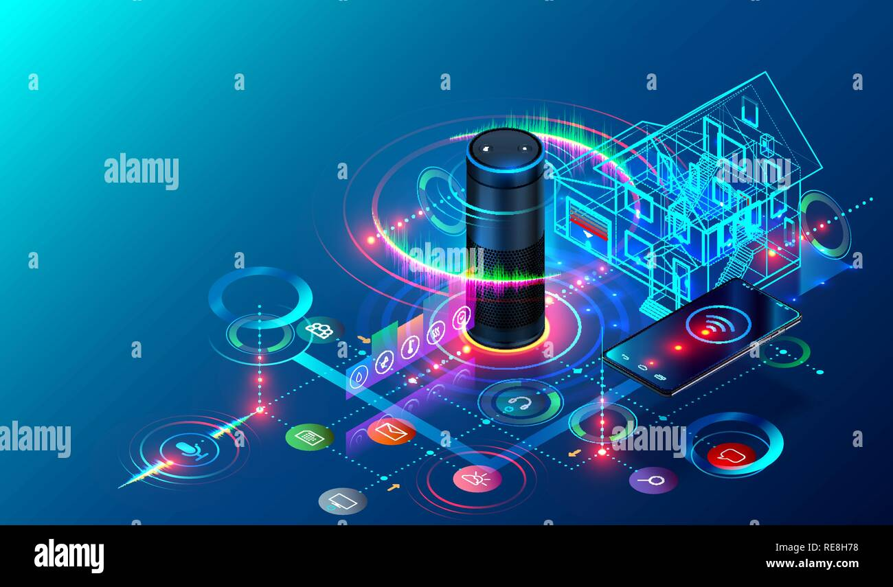 IOT isometric technology concept. Smart Speaker recognizes voice commands and controls System of Smart Home. The Phone Communicates with Devices of Internet of Things via Wireless Connection. - Stock Image