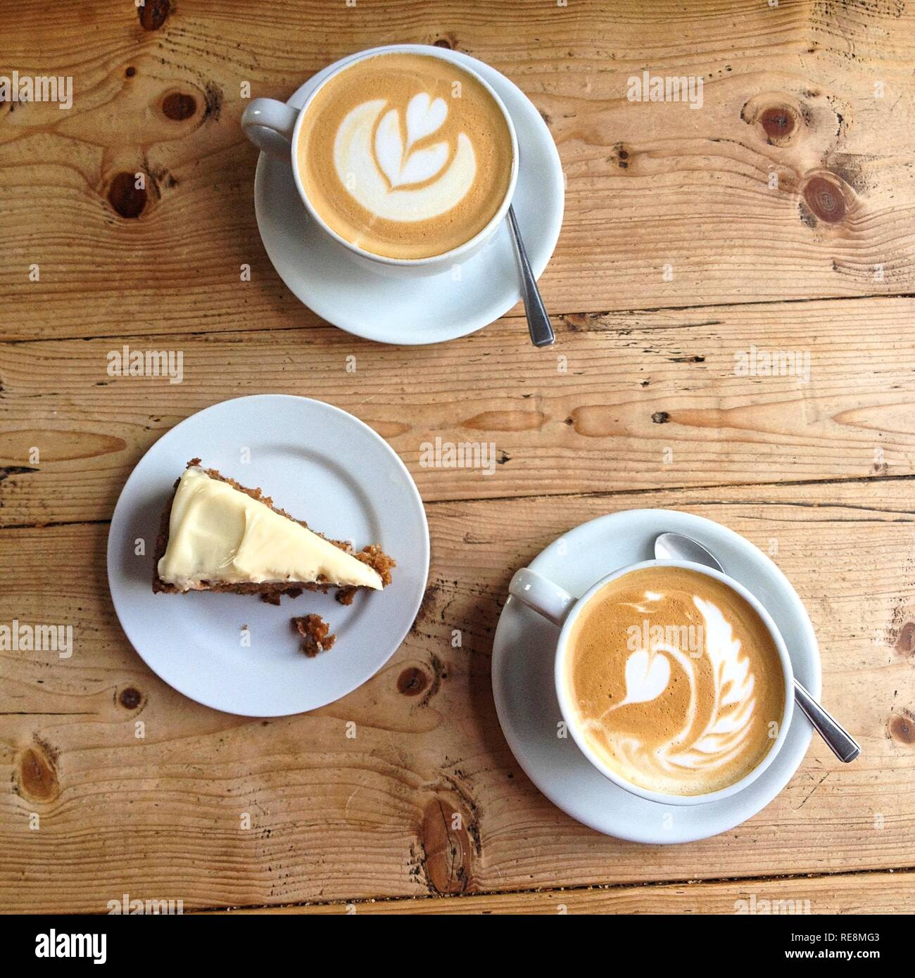 Coffee and cake viewed from above - Stock Image