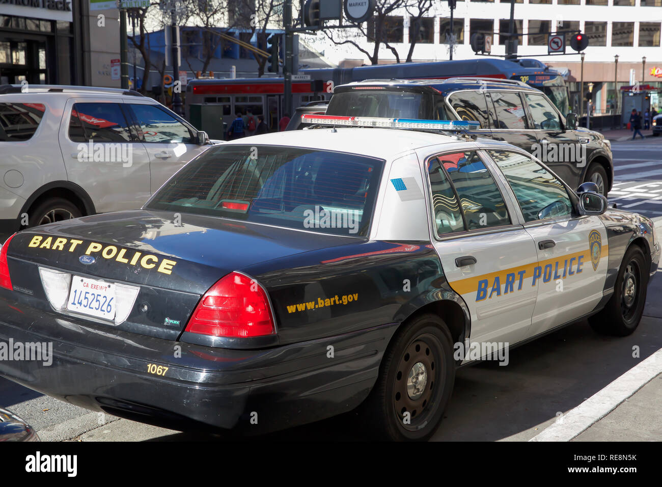 BART Police car parked in San Francisco, USA - Stock Image