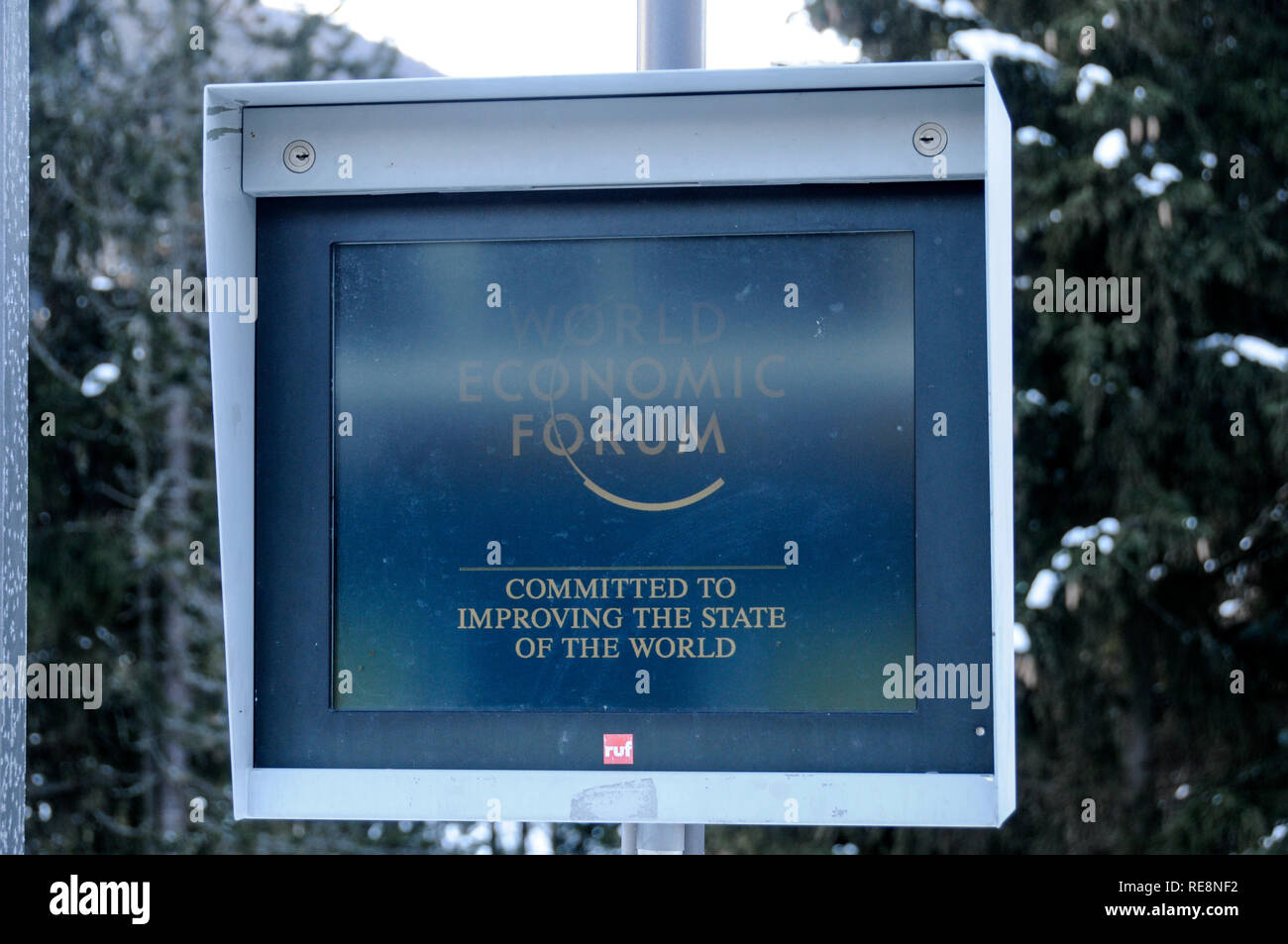 A digital sign at the Kongress Zentrum, (venue for the annual World Economic Forum), in the Promenade, Davos, Switzerland - Stock Image