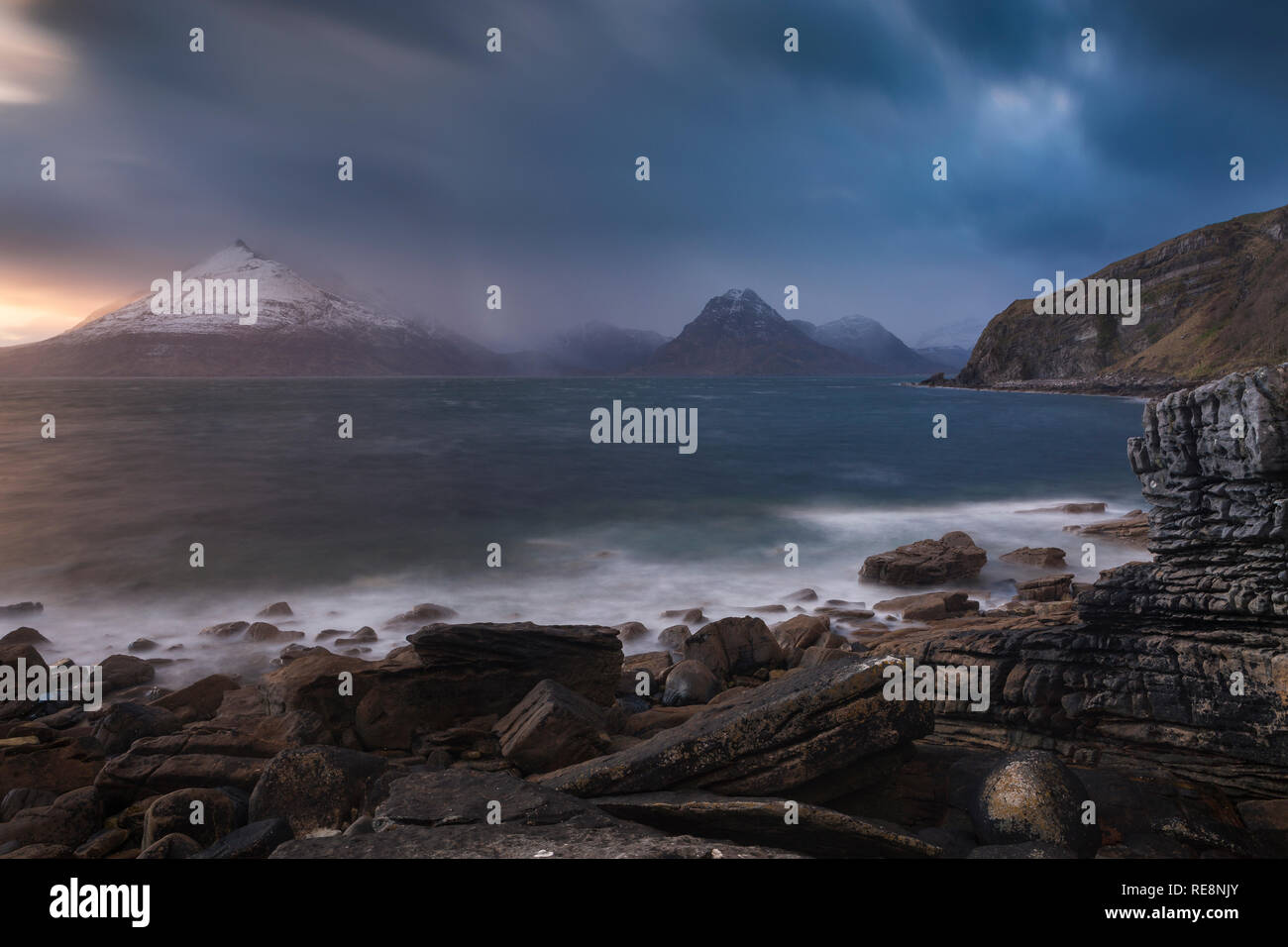 The Cuillin Hills and squally weather during an evening at Elgol, Isle of Skye, Scotland - Stock Image