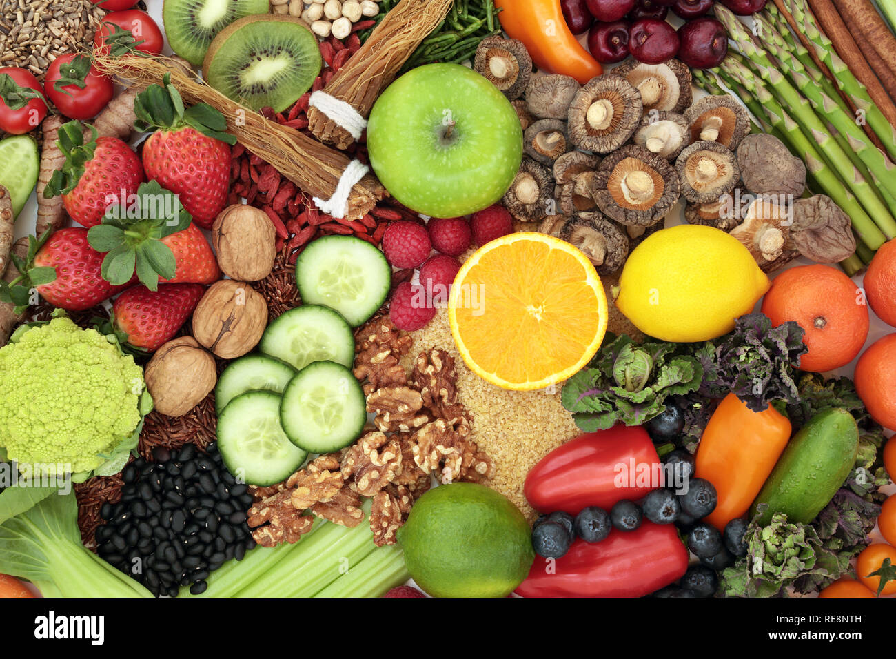 Liver detox health food concept with fresh fruit, vegetables, herbs, spices, nuts, grains and seeds. High in antioxidants & vitamins.. - Stock Image