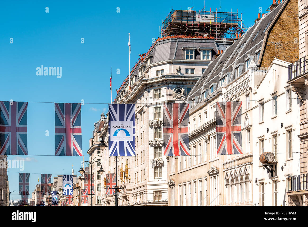 London, UK - June 22, 2018: Nobody on Regent street road in Piccadilly Soho hanging flags banners decorations and union jack flags - Stock Image