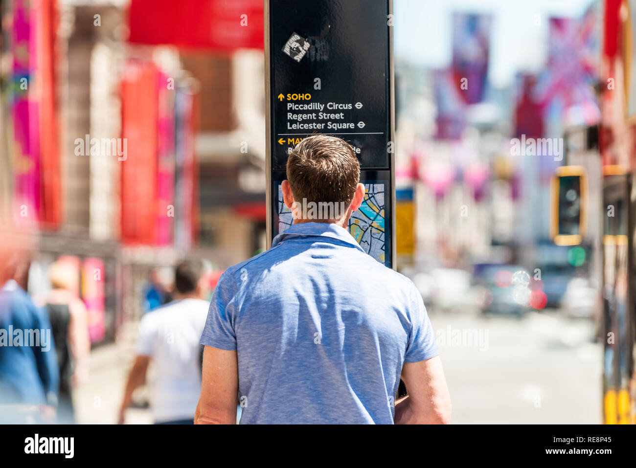 Map Of Downtown London England.London Uk June 22 2018 Back Of One Man Standing Reading Looking
