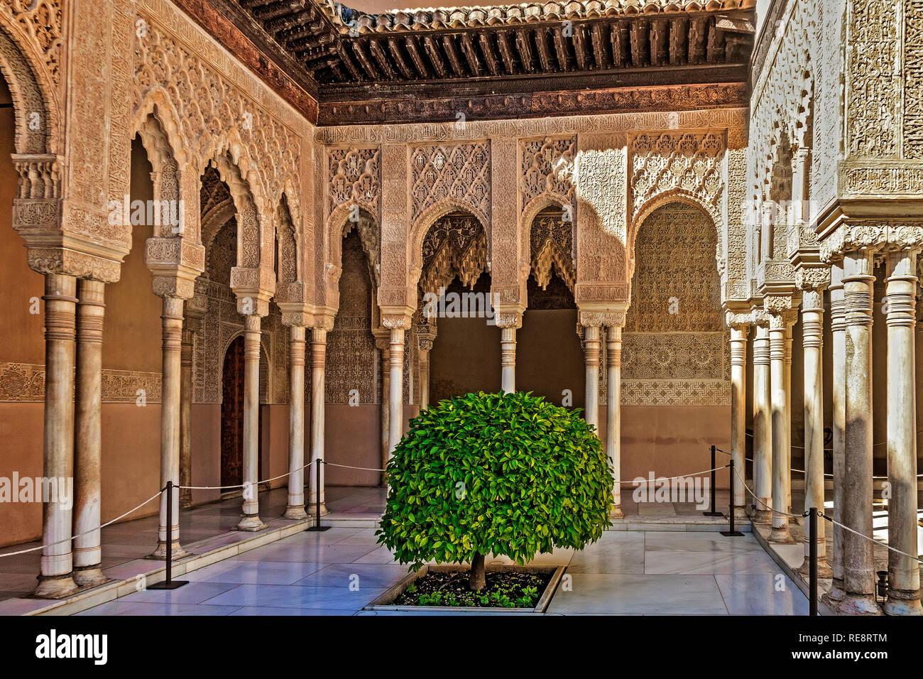 Patio De Los Leones Alhambra Palace Granada Spain Stock Photo