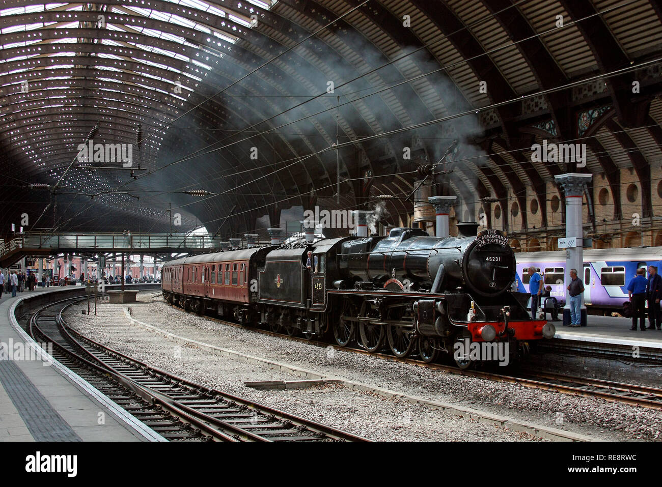 45231 waits at York with the Scarborough Spa Express. - Stock Image