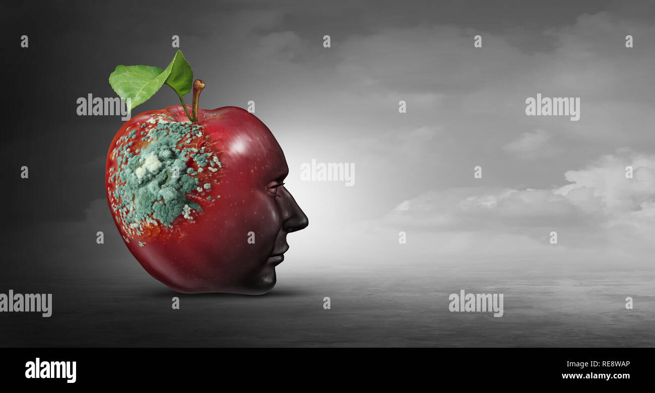Ideology danger and destructive thinking as a psychology concept for brain illness or sick mind idea as aneurology icon in a 3D illustration style. - Stock Image